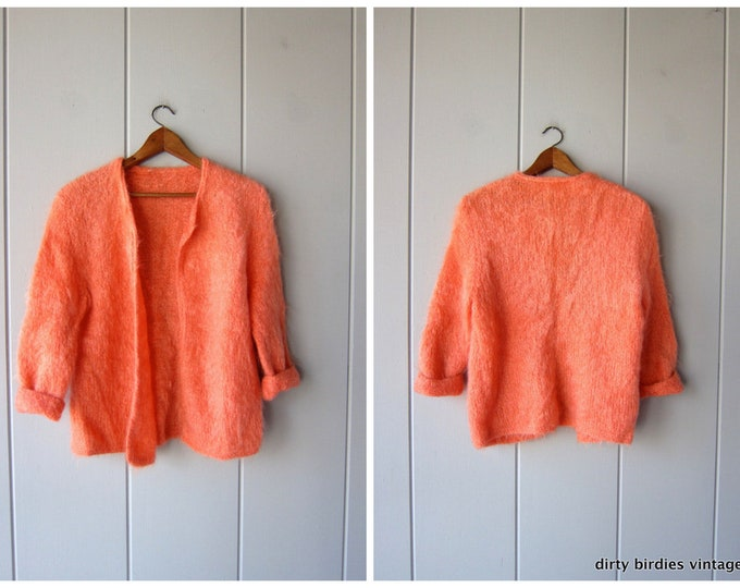 Vintage 50s Mohair & Wool Sweater Peach Orange Cardigan Fuzzy Open Knit 1950s Spring Cardigan Sweater Preppy Womens Large