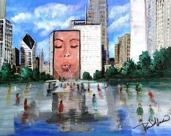 Chicago's Millennium Park.  A print from the original artwork by artist, Roseann Madia