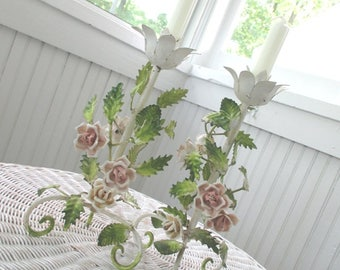 Vintage Candlestick Holders * Italian Tole * Porcelain Pink Roses * Shabby Cottage Chic