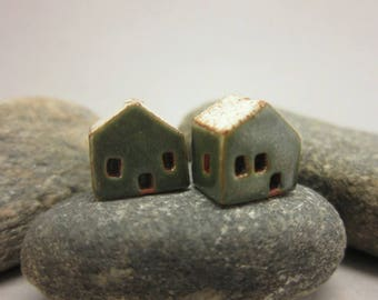 READY TO SHIP...Miniature Terracotta House Beads...Set of 2...Metallic Green Walls/Eggshell Roof