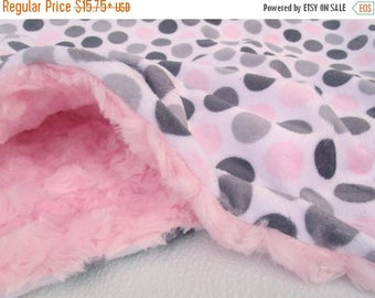 SALE Light Pink and Gray Multi Dot Minky Baby Blanket Can Be Personalized