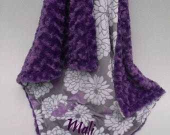 SALE Minky Baby Blanket Purple Floral and Rose Swirl MinkyCan Be Personalized