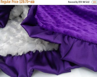 SALE Deep Purple and Gray Minky Dot Baby Blanket Can Be Personalized