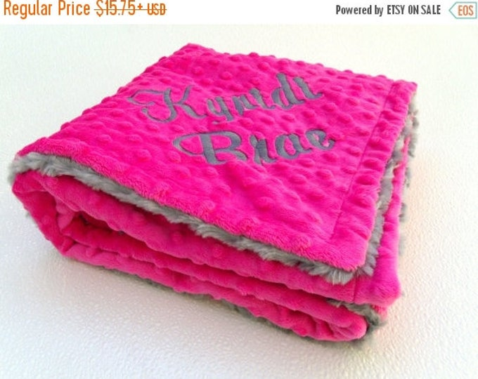 SALE Fuchsia Hot Pink and Gray Minky Baby Blanket - Charcoal Gray Swirl Can Be Personalized