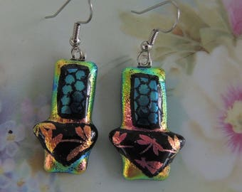 Dichroic Glass Earrings. Layered Dichro Earrings, One Of A Kind - REDUCED