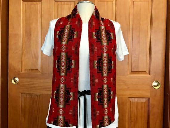 Wool Scarf Unisex Red Mini Chief Joseph 61 x 6 Lightweight