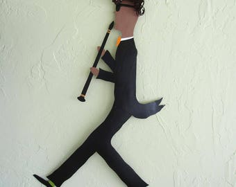 Metal Wall Large Musician Art Clarinet Wall Decor Jazz Group Band Stairway Wall Sculpture Recycled Metal Art Black White Red 30 x 20