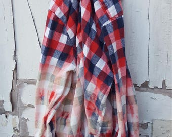 XL Red White Blue Faded Vintage Wash Flannel