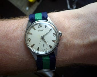 Vintage Wyler Stainless Watch Manual Wind - Wind up