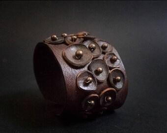 40% OFF SALE Wide Rustic leather flowers cuff bracelet wristband brown  boho jewelry