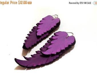 40% OFF SALE Feather earrings. Long dangle leather earrings. Purple color