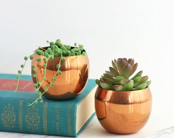 Vintage Copper Planters by Coppercraft Guild / Mid Century Copper Plant Pot / Coppercraft Guild Succulent Planters / Air Plant Holders