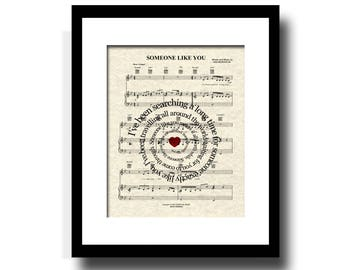 Someone Like You Song Lyric Sheet Music Art Print, Van Morrison Song, Love Song Art Print, Wedding and Anniversary Art