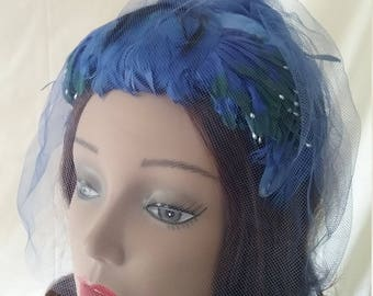 Vintage Blue Feather Headband Hat with Veil   A116