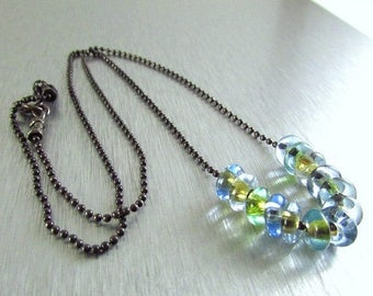 25 OFF Vintage Glass And Oxidized Sterling Silver Necklace
