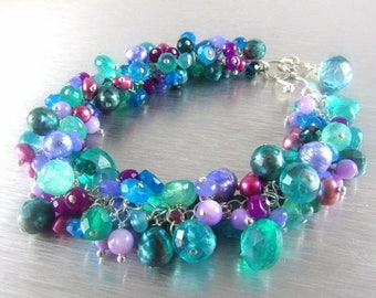 25 OFF Colorful Pearl and Gemstone Sterling Silver Chunky Bracelet