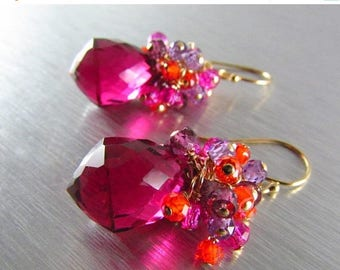 25 OFF Ho Pink Quartz With Orange,Purple And Pink Zircon Gold Filled Cluster Earrings, Colorful Earrings