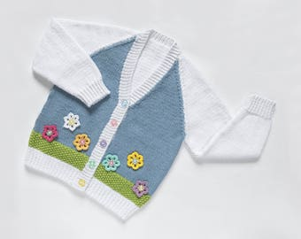 Girls Cotton Cardigan - Flower Garden. Hand Knit Cardigan. Hand Knit Childrenswear.