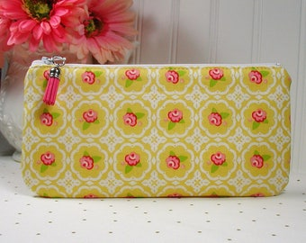 Long Zipper Pouch, Pencil Pouch, Planner Supplies Pouch, Journal Pouch.. Hello Gorgeous Rose in Mustard