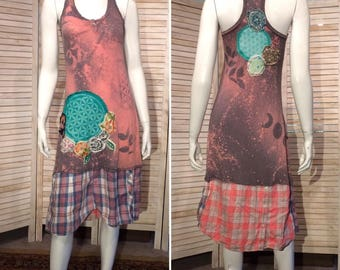 Upcycled Dress Racer Back Layering Tank Top Primitive Scrappy Junk Gypsy Sacred Geometry Seed of Life Batik Eco XS  S DeviDesigns