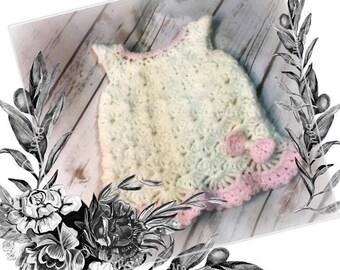 Crochet Baby Dress, Summer Dress, Baby Crochet Dress, Baby Dress, Girls' Crochet Dress, My LITTLE SPRING FLING Dress Newborn (Ready to Ship)