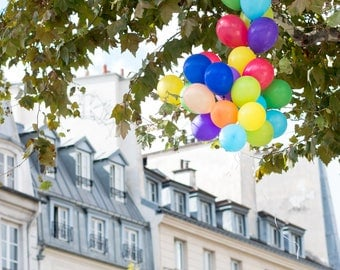 Paris Photography, Balloons on St Germain, Parisian Rooftops, Balloons in Paris, Kids Room Art, Paris Balcony, Rebecca Plotnick