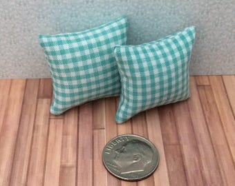 One Inch Scale Set of Green Check Pillows - 3