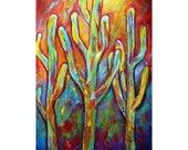 Cactus Large Painting, Original Colorful Desert Painting on Big Huge Upscale Canvas by Luiza Vizoli