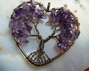 Amethyst Tree of Life heart pendant - purple quartz crystal stone natural chip beads - circle bead or made to order necklace bronze gold