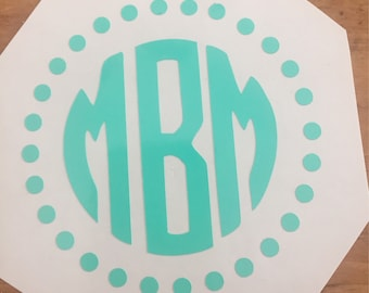 Monogram decal, water bottle decal, computer decal