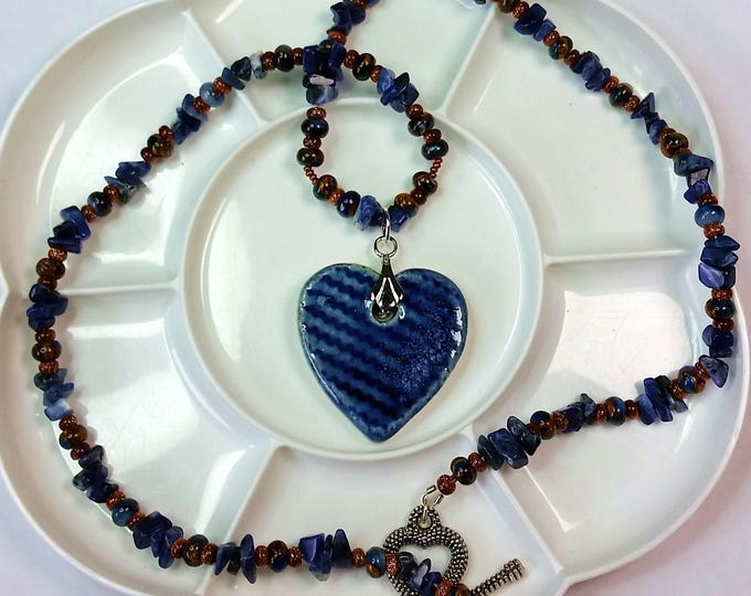 Blue Ceramic Heart Pendant with Lapis and Goldstone Chain