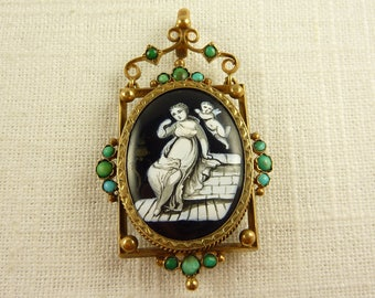 Antique Victorian Gold Filled Hand Painted Enamel Plaque Woman with Cupid and Persian Turquoise Domed Glass Locket