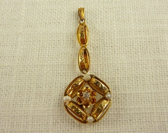 WW) Antique 10K Gold Diamond and Seed Pearl Drop Pendant
