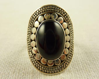 Size 6.5 Vintage Sterling Onyx Dotted Ring