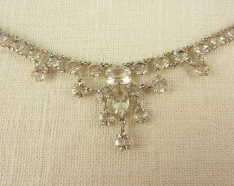 Vintage 12K White Gold Filled Paste Deco Open Back Prong Set Necklace