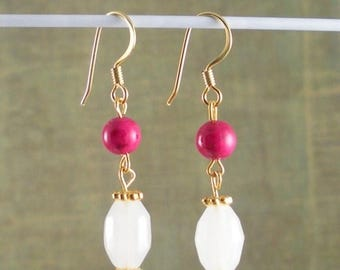 SALE, 50%, Pink Fossil bead wth White frosted white cut glass Earrings