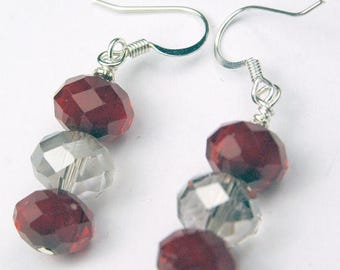 SALE, 50%, Blood Red and Clear Sinox crystal drops