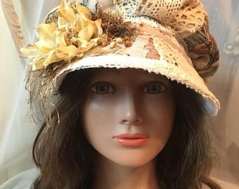 Ooak newsboy cap white,cream, taupe  summer cap cotton linen tatiana123