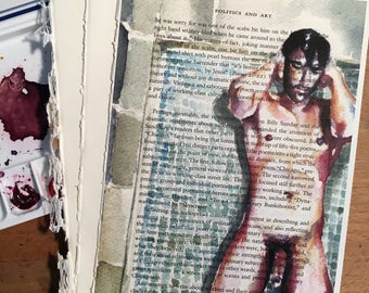 Young Muscular Nude Male in the Shower on Vintage Book Paper by Artist Brenden Sanborn