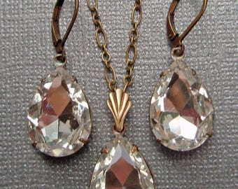 SALE 20% Off Crystal Pendant Necklace SET Earrings Bridal Jewelry Sparkly Wedding Jewelry Bridesmaids Jewelry Rhinestone Drop Set CRYSTAL Ra