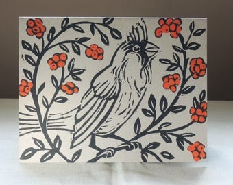 Cardinal Bird with Red Berries Christmas cards hand block printed on recycled kraft paper set of four