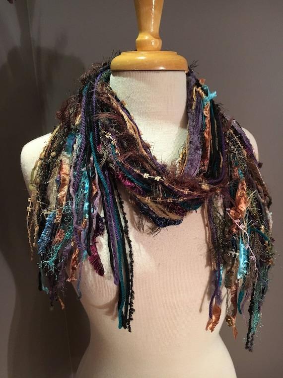 Fringie in Fresco, Aqua purple black scarf, handmade fringe scarf with knots, chunky yarn scarf, Funky Scarf, fringe fashion scarf, boho