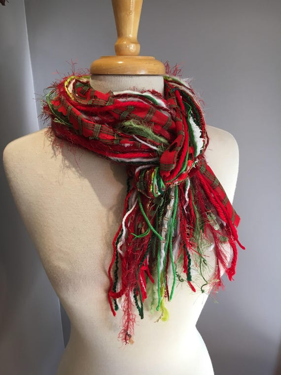 Christmas Scarf, Giftwrap Fringie, Christmas color red, green red and white with plaid and lime green, fashion scarf for Christmas,