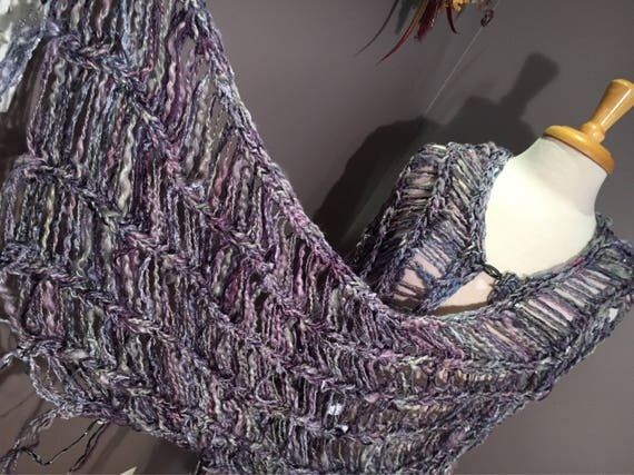 New Long Knit Shawl - Love Knots Series, 'Lavendar blends with silver, hand spun mohair silk, hand dyed chenille, Bohemian, wraps