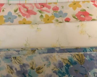 Four piece Vintage sheet fat quarter bundle. Blue, green, yellow, pink floral geometics