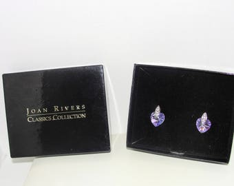 JOAN RIVERS EARRINGS Aurora Borealis Purple Crystal Hearts Pierced Rhinestones