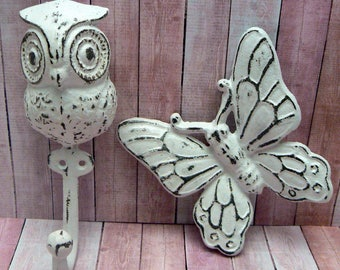 Owl Cast Iron Hook Butterfly Set Pair Shabby Chic White Home Decor