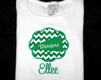 Custom Personalized Applique Chevron Stripe Cheer MEGAPHONE Patch and NAME Shirt or Bodysuit - Kelly Green and White Team Colors  -Or Choose