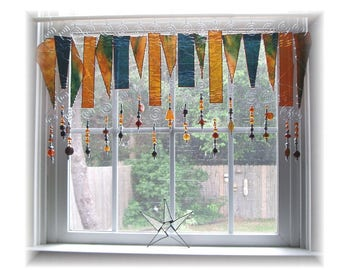 Amberosia NUMBER THREE Stained Glass Window Treatment Kitchen Valance Curtain