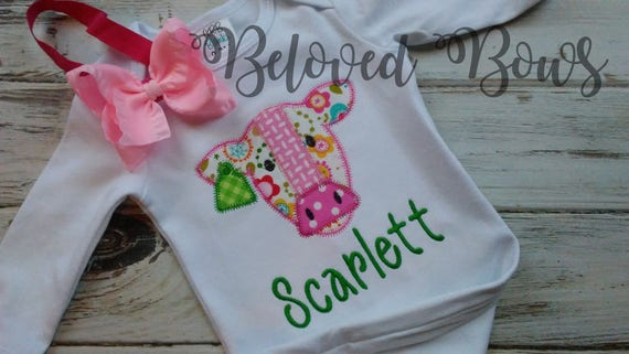 Coming Home Baby Gown Personalized Cow Gown New Baby New